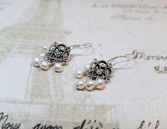 Freshwater Pearl Chandelier Earrings, Ornate Pearl Earrings, Elegant Pearl Earrings, Pearl Jewelry, White & Silver, Anniversary Earrings by zencreations04 on Etsy