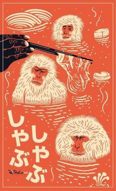 Poster for Shabu 208 Beautiful! Love the colours/composition!Poster for Shabu 208 Beautiful! Love the colours/composition!Poster for Shabu 208 Beautiful! Love the colours/compo. Illustration Design Graphique, Illustration Photo, Japan Illustration, Art Graphique, Monkey Illustration, Japanese Poster Design, Japanese Design, Japanese Art, Japanese Monkey