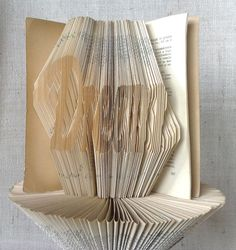 Items similar to Dream Book folding pattern and FREE Tutorial - Dream - folded book art, origami, gift on Etsy Book Projects, Craft Projects, Recycled Books, Book Folding Patterns, Folded Book Art, Dream Book, Book Sculpture, Transfer Paper, Love Gifts