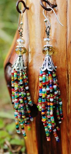 Tassel seed bead earrings with crystal and antique silver accents, colorful, boho, fringe, native american, hippie, dangle on Etsy, $35.00