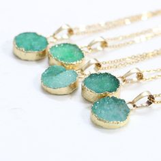 Round Green Druzy Necklace Handmade Drusy Geode by KittyGemShop