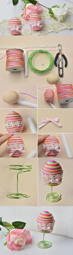 DIY Handmade Colorful Easter Eggs with Suede Cord for Kids