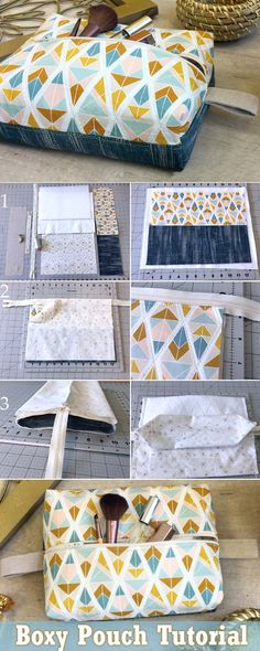 Boxy Travel Pouch DIY Tutorial. How to Sew   http://www.free-tutorial.net/2017/05/boxy-travel-pouch-tutorial.html