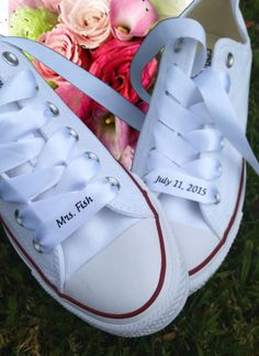 Custom Wedding Converse Ribbon Laces Satin White - Personalized Bride Wedding Ribbon - Bridal Shoe Ribbon - Printed Ribbon by Bandana Fever Converse Wedding Shoes, Bride Shoes, Converse Shoes, Custom Converse, Groom Converse, Golf Shoes, Converse High, Ribbon Shoe Laces, Wedding Boots