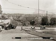 Construction of J Line Through Dolores Park | May 13, 1916 Photo Archive, Paris Skyline, Dolores Park, San Francisco, The Past, Public, Street View, Tours, Construction