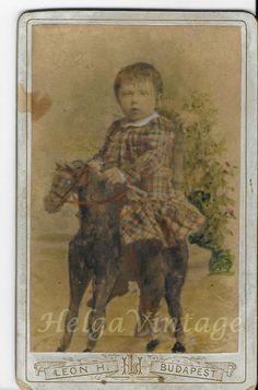 Antique Hungarian tinted CDV little girl,Christmas tree,horse Leon H. Bud, Vintage Photos, Little Girls, Christmas Tree, Horses, Antiques, Children, Painting, Teal Christmas Tree