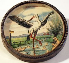 Stork, Germany mirror on back, tin, glass Antique Dexterity Games and Hand-Held Puzzles from the Collection of Barbara Levine - project b Antique Toys, Vintage Toys, Bikes Games, Victorian Toys, Vintage Illustration, Gold And Silver Bracelets, Tatty Teddy, Barbie Accessories, Naive Art