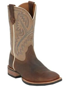 Ariat® Quickdraw™ Men's Tumbled Bark Brown with Beige Wide Square Toe Western Boots