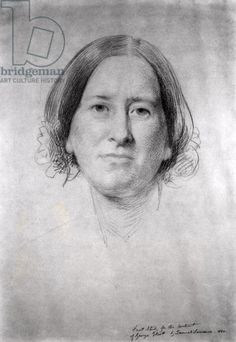 First Study for the Portrait of George Eliot (Mary Ann Evans) (1819-1880) 1860 (pencil on paper) (b&w photo)