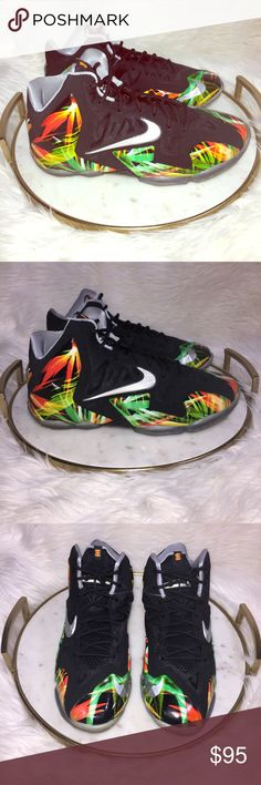 "Nike Lebron 11 Everglades Sneaker Basketball Shoes 2013 Nike Lebron 11 ""Everglades"" Black/Metallic Silver/Wolf Grey Shoes    Grade Size: 7Y     Excellent like new condition, worn once! Nike Shoes Athletic Shoes"