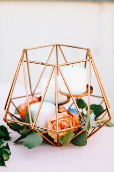 copper wedding decor - photo by Sarah Libby Photography http://ruffledblog.com/bold-copper-bridal-inspiration-with-a-dripping-cake