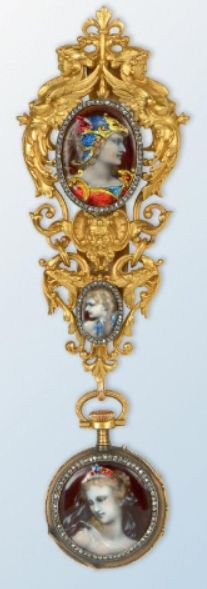 A 19th century gold and silver chatelaine, by Alphonse Fouquet. Featuring two enamel miniatures, one of Alexander the Great in a feminised profile, the other a stylised cherub's head, surrounded by rose-cut diamonds, suspending a pocket watch with an enamel miniature of a nymph, signed A. Fouquet , avenue de l'Opéra in Paris, numbered.