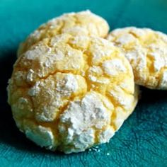 Easy Lemon Cookies: Very easy and really good. The batter is such a pretty shade of yellow! You must have a lemon cake mix and lemon extract or a real lemon for this.