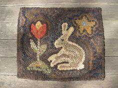 Primitive Hooked Rug Rabbit and Tulip by theoldrosecottage on Etsy, $65.00