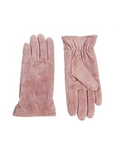 pretty pink suede gloves