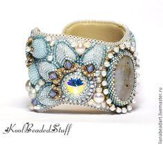 Купить Браслет с океанической яшмой - белый, голубой, льдинка, зимний браслет, холодные тона