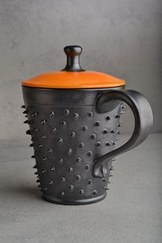 Gorgeous lidded spiky mug by Symmetrical pottery on Etsy |Pinned from PinTo for iPad|