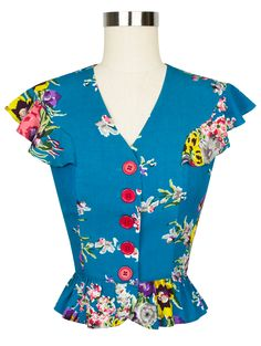 Trashy Diva Louise Blouse | Vintage Inspired Top | Turquoise Floral
