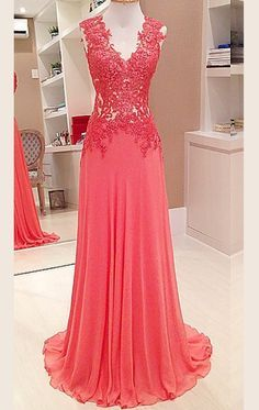 MACloth Straps V Neck Lace Chiffon Long Prom Dress Formal Party Gown  Kleider, Abschlussballkleid Mit fa3b030085
