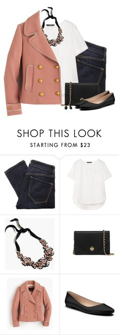 """""""J.Crew coat & crystal clustered necklace"""" by steffiestaffie ❤ liked on Polyvore featuring Marc by Marc Jacobs, MANGO, J.Crew, Tory Burch, Shoes of Prey and Kendra Scott"""