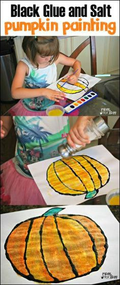This black glue and salt pumpkin painting is on our must do list of Halloween crafts for kids. I just love the bold colors and texture they have! (Halloween Art And Crafts For Kids) Halloween Crafts For Kids, Halloween Activities, Autumn Activities, Halloween Art, Holiday Crafts, Activities For Kids, Halloween Candy, Preschool Halloween, Halloween 2020