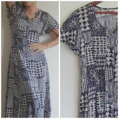 What a great fall dress! Vintage Maxi Long Geometric Pattern Blue by DizzyDreamerVintage
