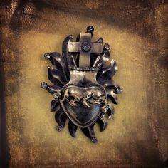 A supet cool Sacred Heart locket i snagged at #Ay Dios Mio,Corazon, via Flickr.