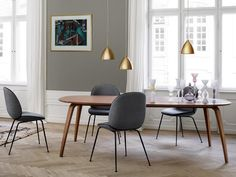 Gubi Dining Room featuring the Bestlite Pendants in Brass... In store now! We are open till 4pm today. #urbancouturedesigns #gubi #interiorstyling #interior #furniture