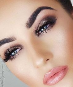 Soft Pink Lips + Lashes + Gold Eyelid + Brown Outer V