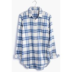 MADEWELL Flannel Classic Ex-Boyfriend Shirt in Akiva Plaid ($82) ❤ liked on Polyvore featuring tops, rainy day, blue flannel shirt, button up shirts, plaid button down shirt, boyfriend flannel shirt and plaid shirts