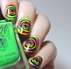 Psychedelic neon nails #marinelovespolish #green #swirly #colorful #nailart - bellashoot.com