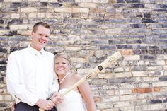 Custom engraved Louisville Slugger baseball bat at SportsThemedWeddings.com  #baseballwedding  #groomsmengifts