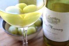 Chill white wine with frozen grapes