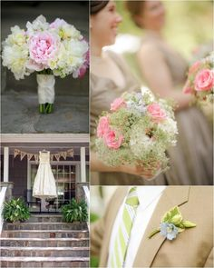 Bride's bouquet features peonies and dahlias, bridesmaid bouquets featre pink roses and queen anne's lace