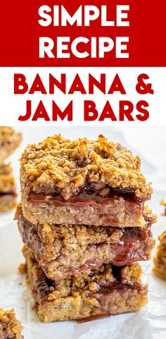 4-Ingredient Strawberry and Banana Bars Recipe (gf, vegan, dairy free) Wheat Free Recipes, Gluten Free Recipes For Dinner, Gluten Free Treats, Gluten Free Cooking, Gluten Free Peanut Butter, Gluten Free Oatmeal, Banana Jam, Fructose Free, Food Intolerance