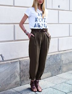 High-waisted trousers // pair with a tucked-in blouse and skinny belt or a fitted tank and structured blazer