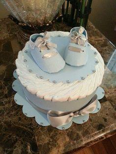Gâteau de couches bleu un étage pour bébé / par TheCarriageShoppe