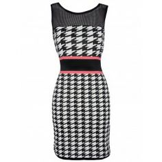 Women's perspective round neck sleeveless leak back contrast color waist splice stripe printing hip-hugger slim fit bodycon dresses Backless Mini Dress, Bodycon Dress, Fishnet Top, Houndstooth Dress, Fashion Outfits, Womens Fashion, Fashion 2014, Fall Fashion, Fashion Trends