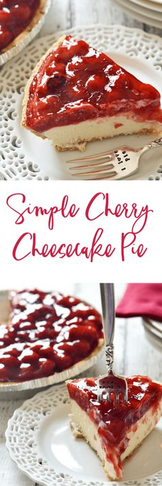 Whip up this simple cherry cheesecake pie in next to no time and with just as little effort. Your friends and family will thank you-if you choose to share! Mini Desserts, Brownie Desserts, Cherry Desserts, Cherry Recipes, No Bake Desserts, Easy Desserts, Dessert Recipes, Health Desserts, Cherry Cheesecake Pie