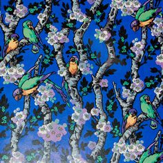 """Vintage French Parrots in Trees Design Decoupage Paper in Brilliant Hues, Wrapping Paper, Scrapbooking Paper 8.5"""" x 11"""""""