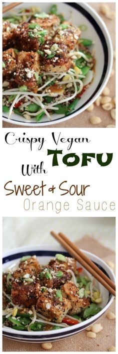 Vegan Crispy Tofu with Sweet & Sour Orange Sauce– New Years Eve Healthy Chinese…