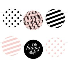 Free Printable Happy Stripes Garland | Printable Party Decor #freeprintable #party #partyprintable