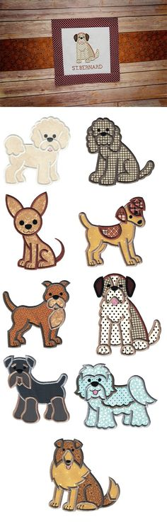 Top Dogs Applique Set 4 design set is available for instant download at designsbyjuju.com