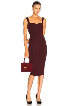 Image 1 of Victoria Beckham Dense Rib Cami Fitted Dress in Wine