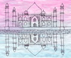 Taj Mahal This was a lesson in one point perspective, mirror images, and watercolor washes.