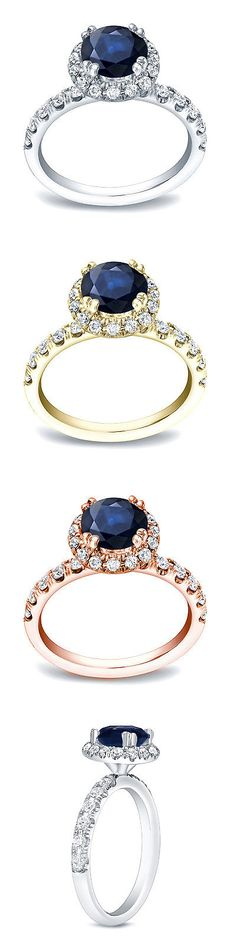 Other Engagement Rings 164308: Auriya 14K Gold 3 4Ct Blue Sapphire And 7 8Ct Tdw Round Diamond Halo Engagement -> BUY IT NOW ONLY: $1904.39 on eBay!