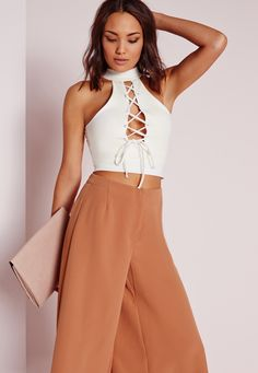 Missguided - High Neck Lace Up Crop Top White