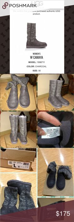 """UGG Australia Women's W Camaya Sequin Winter Boots Brand new with Box UGG Australia Women's W Camaya Winter Boots size 6. Super cute snow/winter boots with Sequin from UGG Australia, light weight Boots furry inside and super soft. $200 Retail pls make me an offer..about this item: round toe , top stitching, Sequin knit shaft, pull on, UGGpure(TM) lining, approximately 11.5"""" shaft height, 15"""" opening circumference,approximately 0.5-1"""" platform, imported Material,leather /textile upper, man…"""
