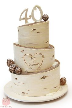 Rustic & Birch Inspired 40th Birthday Cake with edible pine cones.  #Happy #Birthday