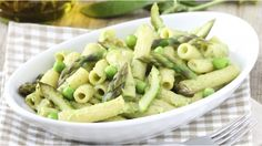 Vegetable penne with asparagus and peas